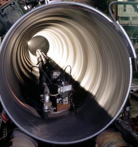 spiral pipe inside welding head